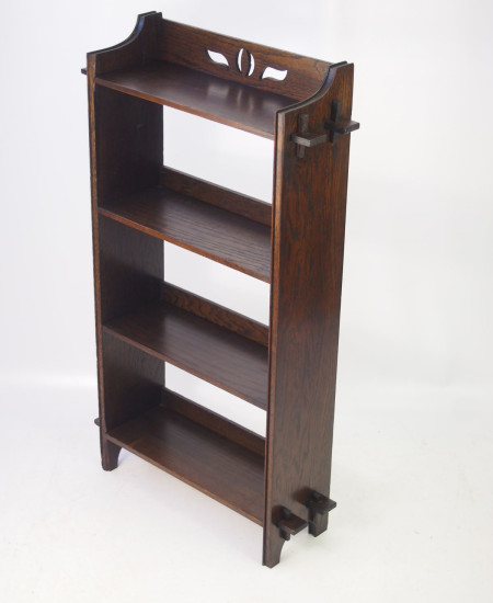 Arts Crafts Oak Open Bookcase