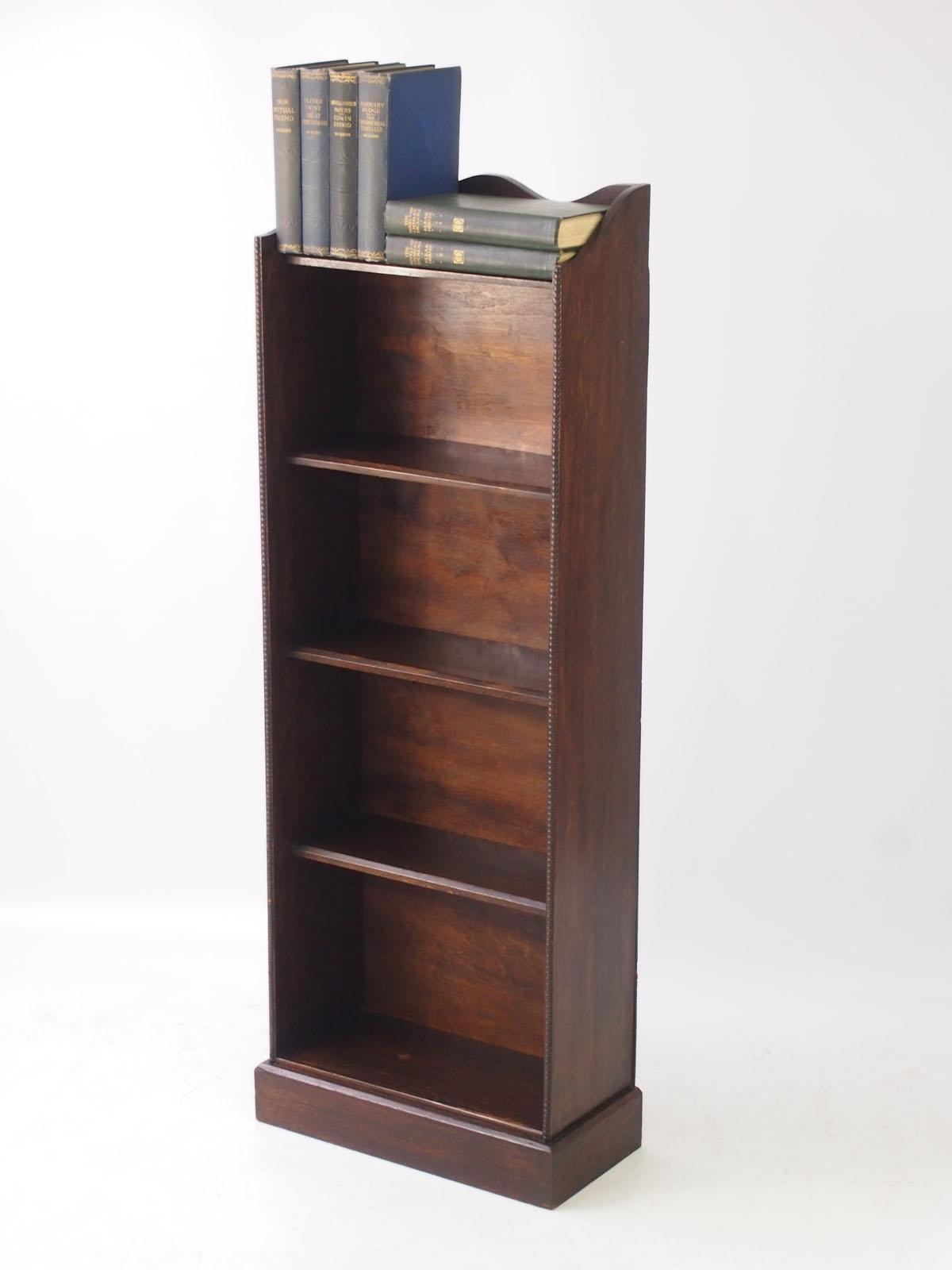 Slim Edwardian Oak Open Bookcase