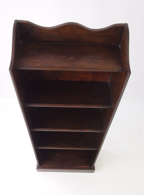 Vintage Tall Slim Oak Open Bookcase