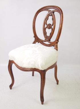 Pair Antique French Walnut Balloon Back Chairs