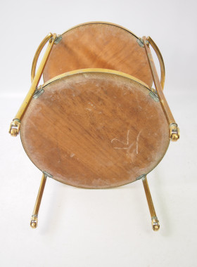 Vintage Circular Brass Drinks Trolley