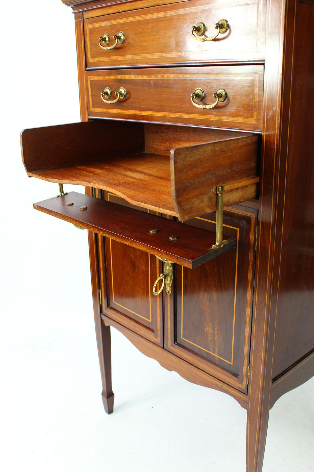 Antique Edwardian Mahogany Amp Inlaid Music Cabinet