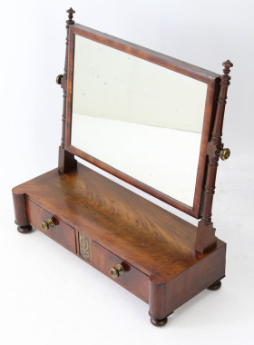 Regency Mahogany & Brass Inlaid Dressing Table Mirror