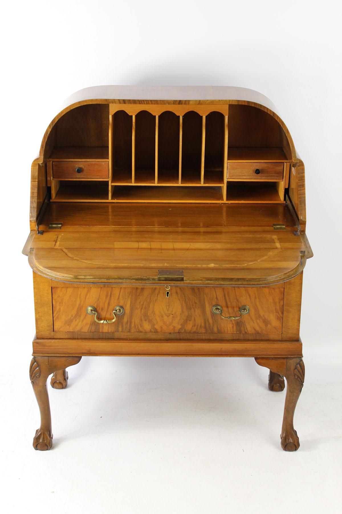 small vintage art deco walnut bureau. Black Bedroom Furniture Sets. Home Design Ideas