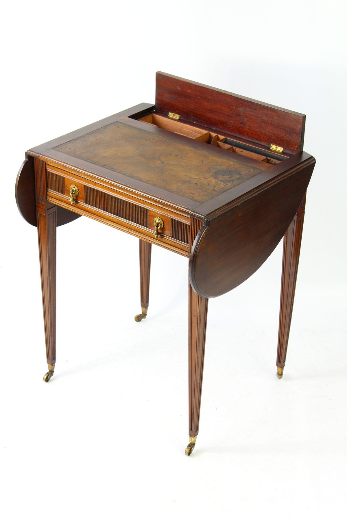 Small Edwardian Ladies Writing Desk With Glasgow Label