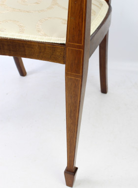 Edwardian Mahogany Inlaid Open Armchair
