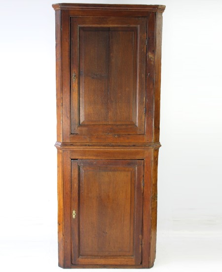 Tall Antique Georgian Standing Oak Corner Cupboard