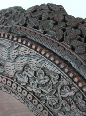 Antique Burmese Carved Rosewood Tilt-Top Side Table