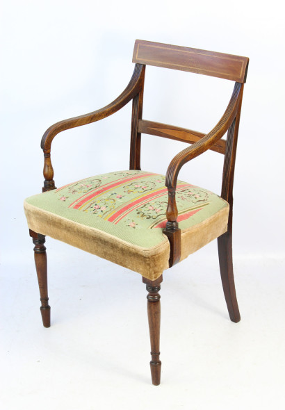 Georgian Inlaid Mahogany Open Armchair
