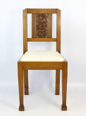 Pair Oak Arts Crafts Chairs