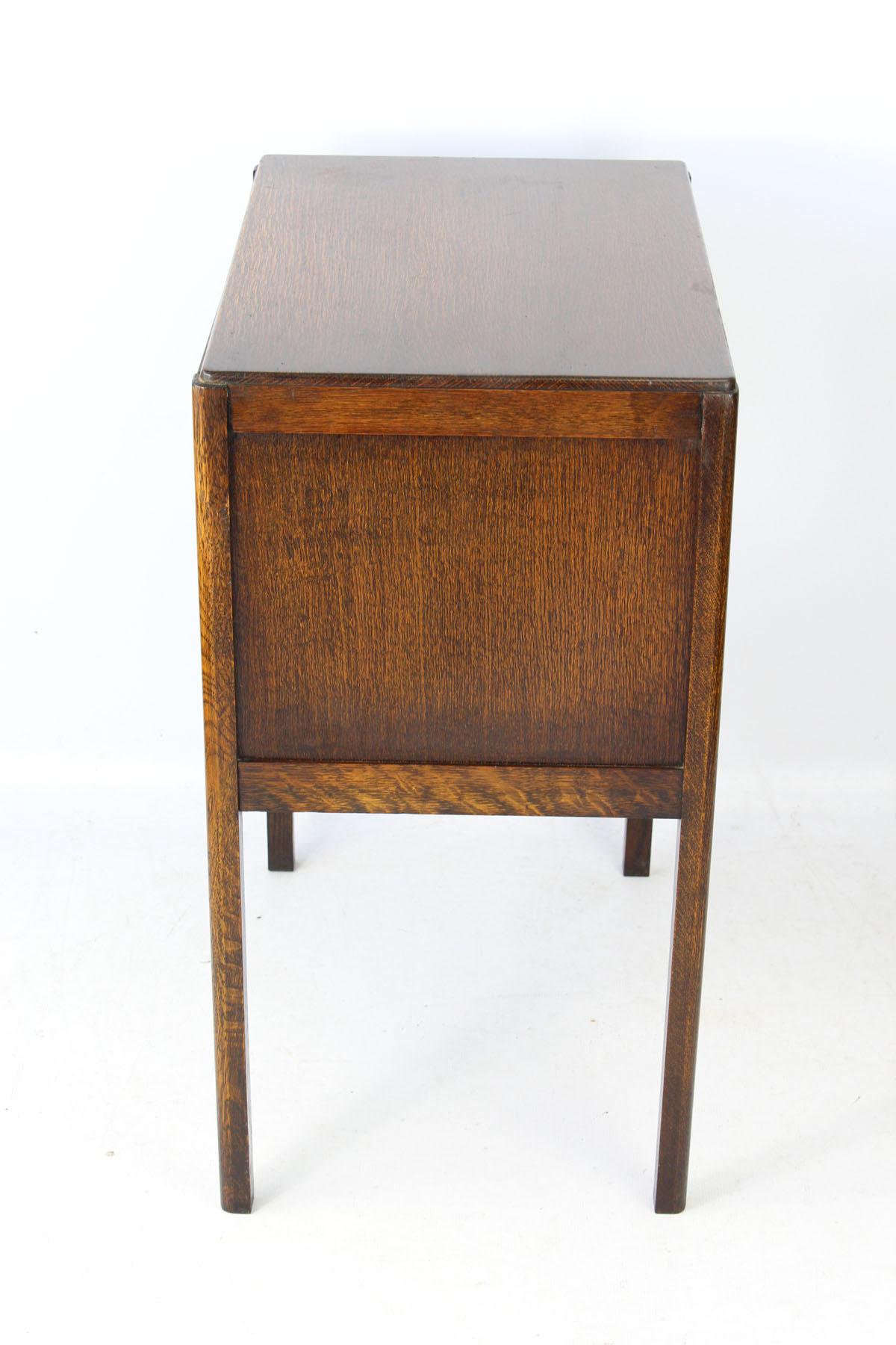 Vintage Art Deco Oak Bedside Cabinet