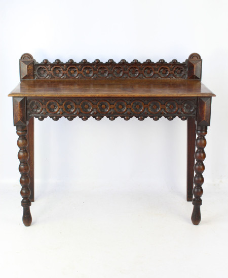 Victorian Gothic Oak Hall Table