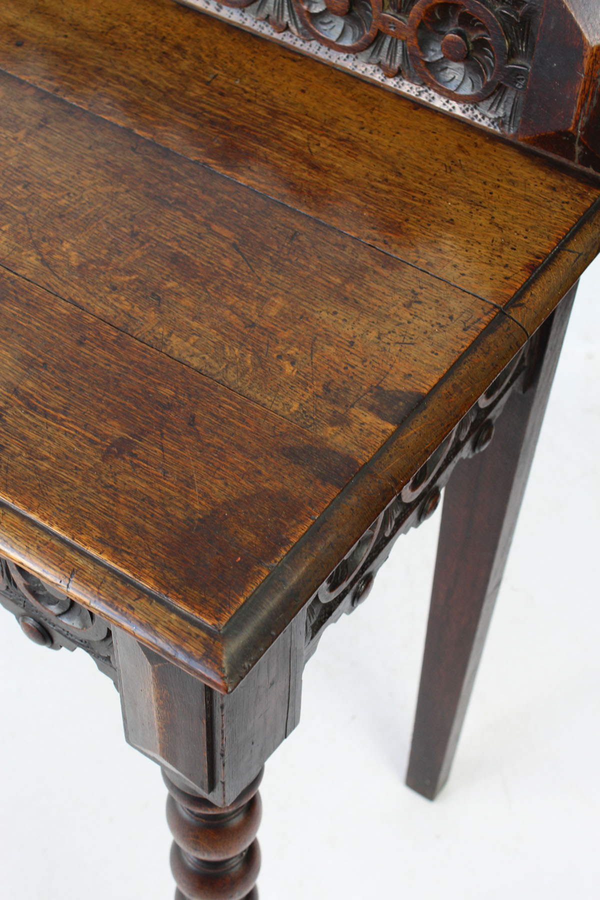 Antique Victorian Gothic Oak Hall Table