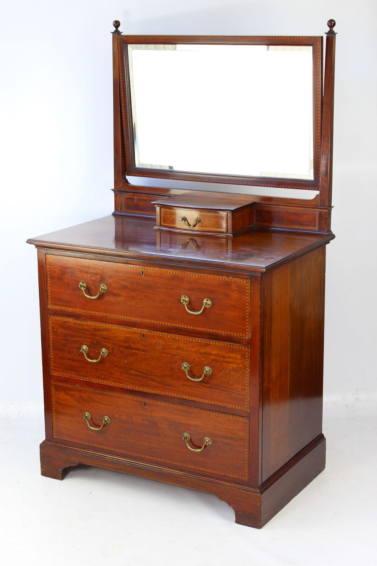 Small Edwardian Mahogany Amp Inlaid Dressing Table