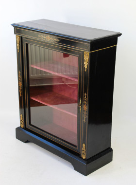 Ebonised and Inlaid Victorian Pier Cabinet