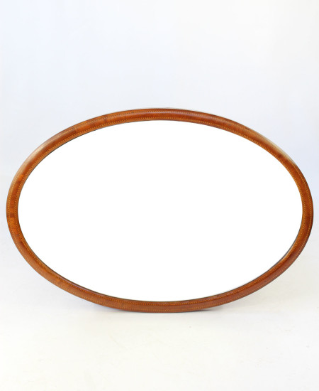 Edwardian Mahogany Oval Inlaid Mirror