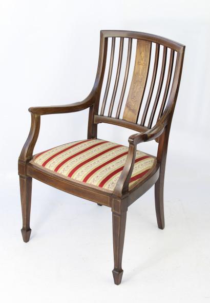 Victorian Inlaid Open Armchair