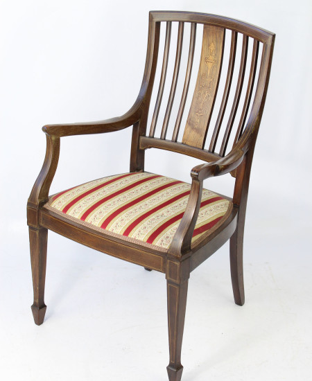 Victorian Inlaid Open Armchair
