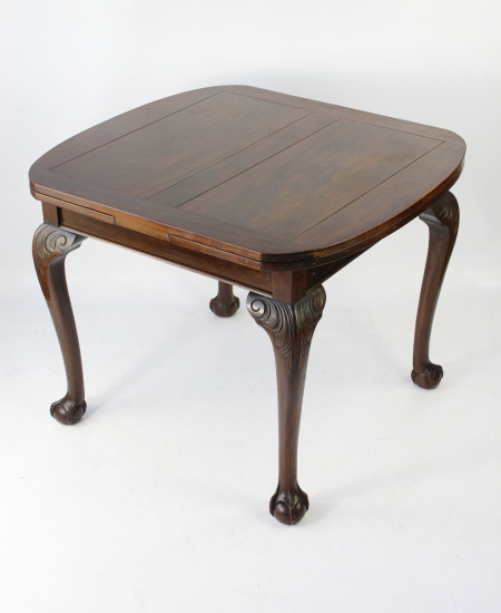1920s Mahogany Drawer Leaf Dining Table