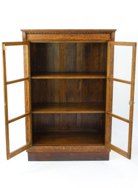 Tall Edwardian Oak Bookcase