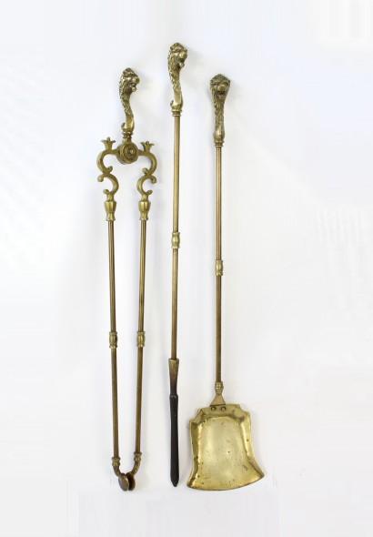 Set Lions Head Brass Fire Irons