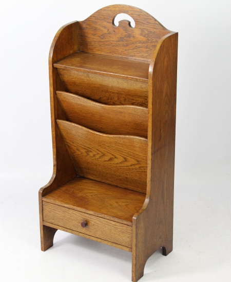 Edwardian Oak Newspaper Stand