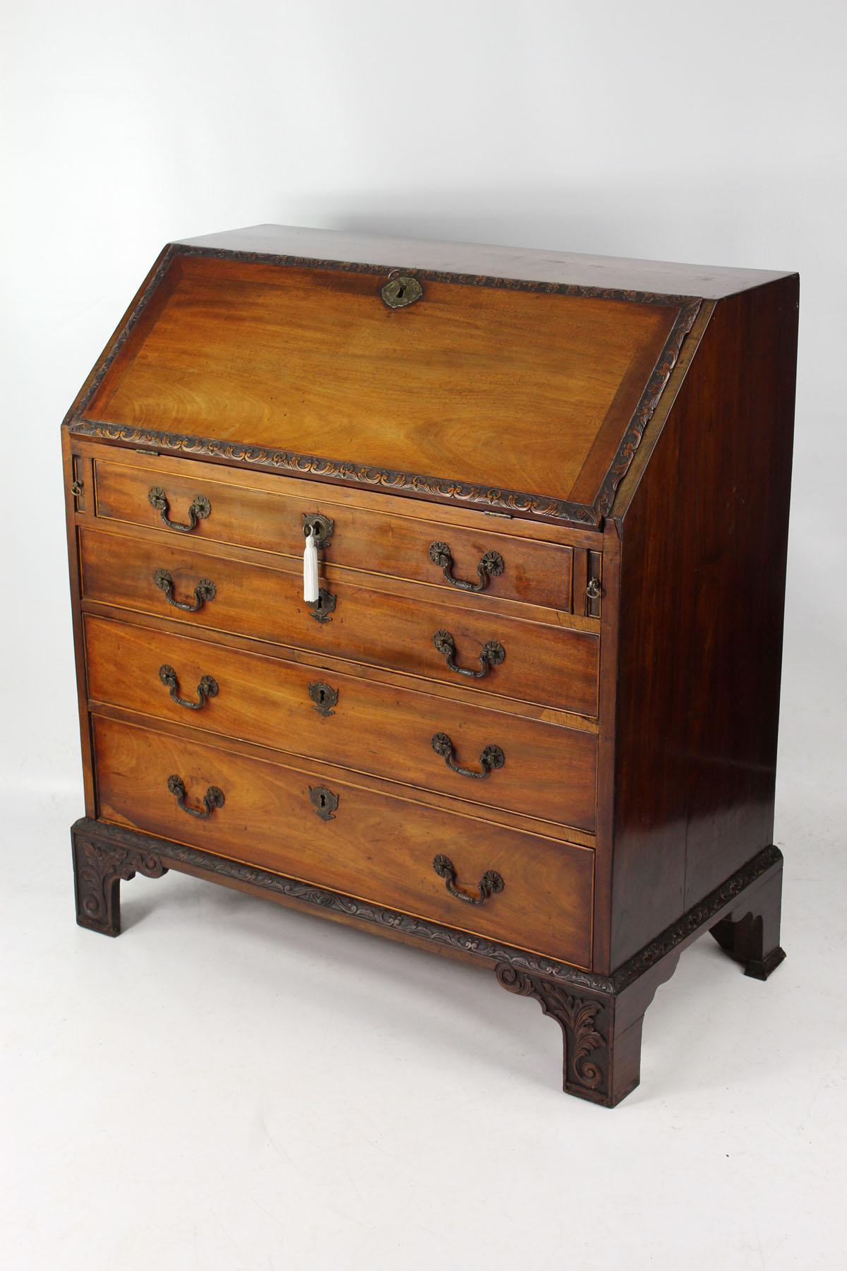 Small Antique Georgian Carved Mahogany Bureau