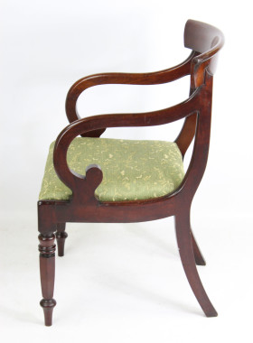 Victorian Mahogany Scroll Arm Desk Chair