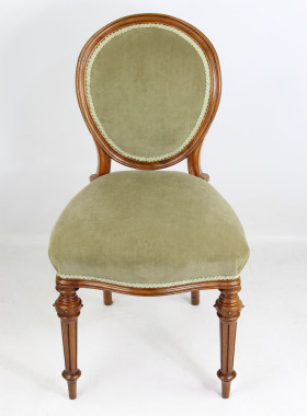 Set 4 Victorian Walnut Balloon Back Chairs