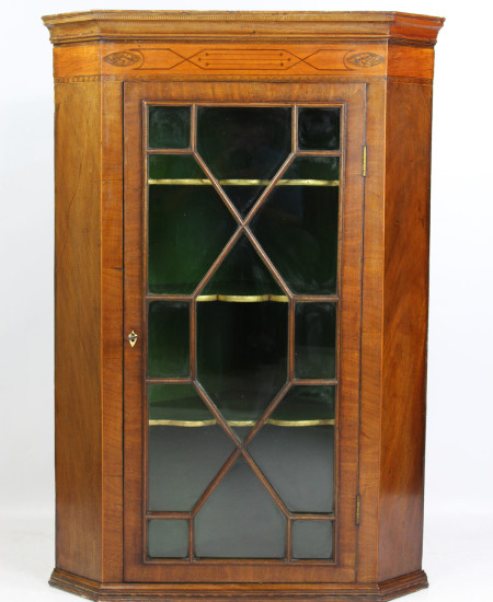 Georgian Astragal Glazed Inlaid Corner Cupbpoard