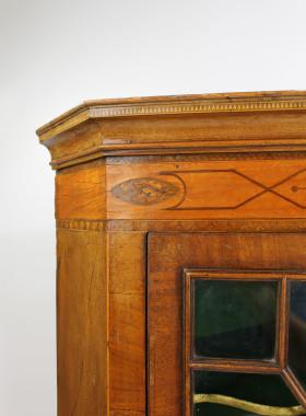Georgian Astragal Glazed Inlaid Corner Cupbpoard
