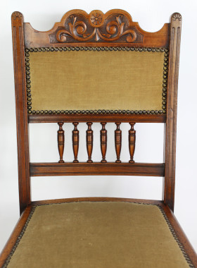 Pair Edwardian Arts Crafts Walnut Chairs