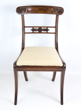 Pair Regency Mahogany and Brass Inlaid Chairs