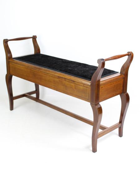 Edwardian Inlaid Mahogany Duet Piano Stool