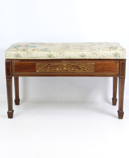 Victorian Inlaid Duet Piano Stool
