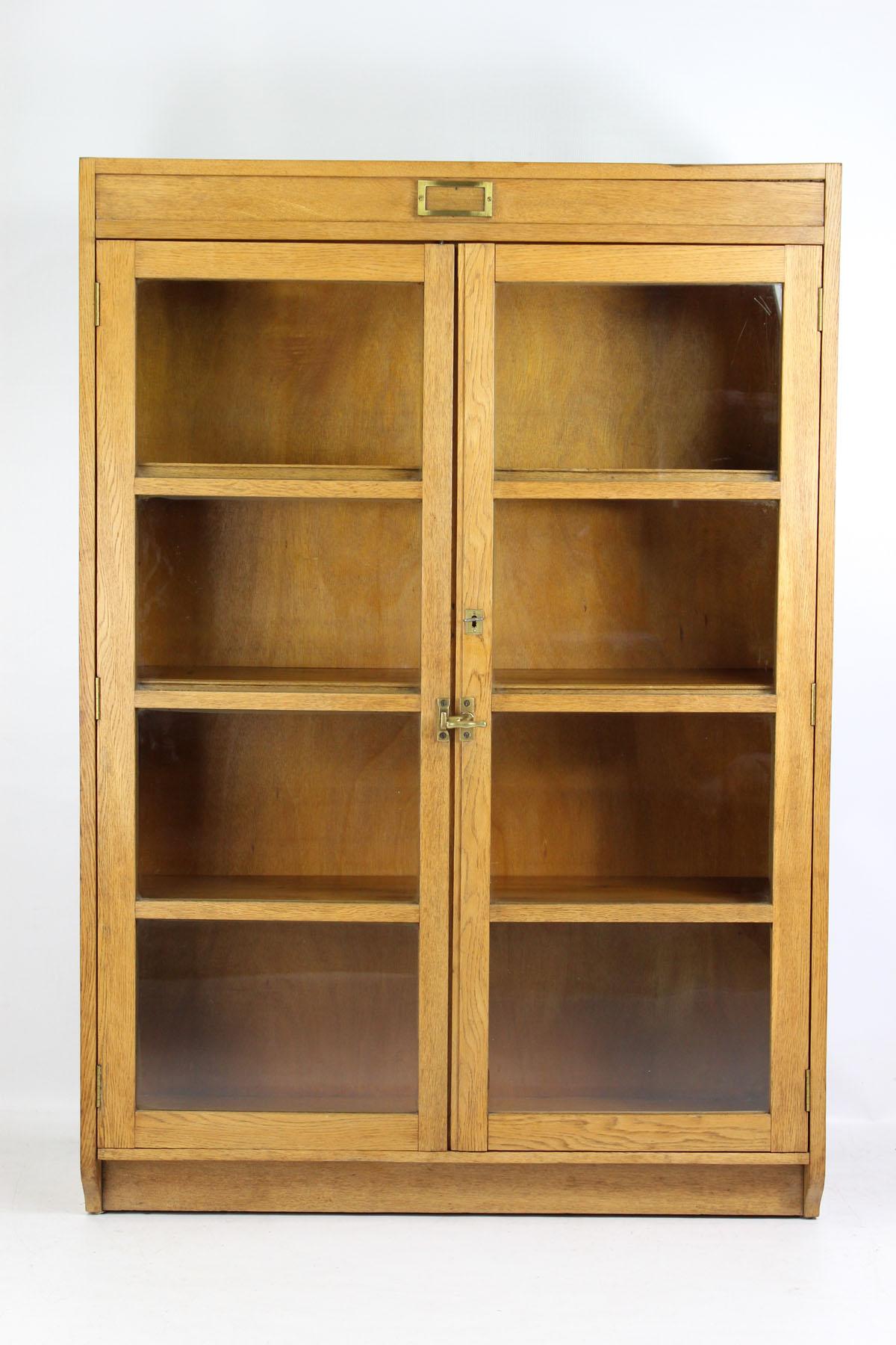Tall Vintage Mid-Century Oak Bookcase