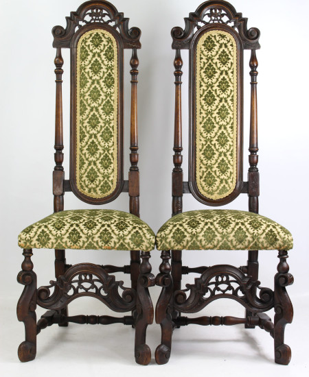 Pair Antique Victorian Carolean Style Chairs