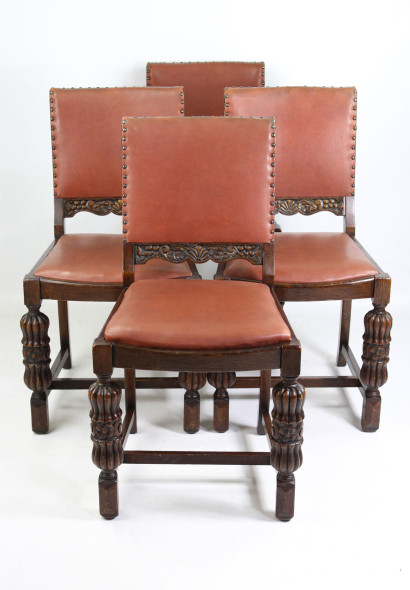 Set 4 Oak 1930s Dining Chairs