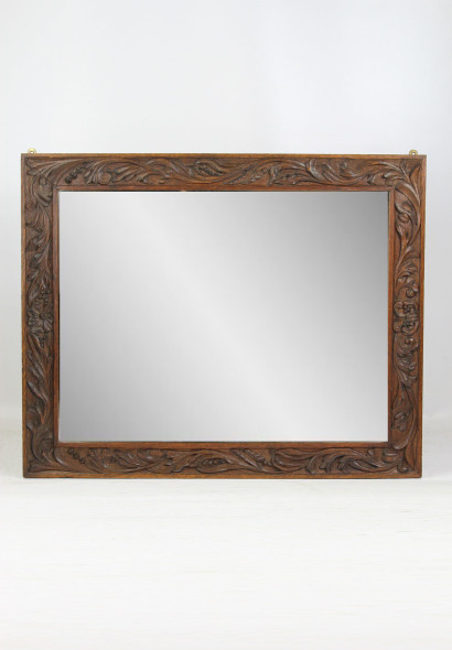 Arts Crafts Carved Oak Mirror