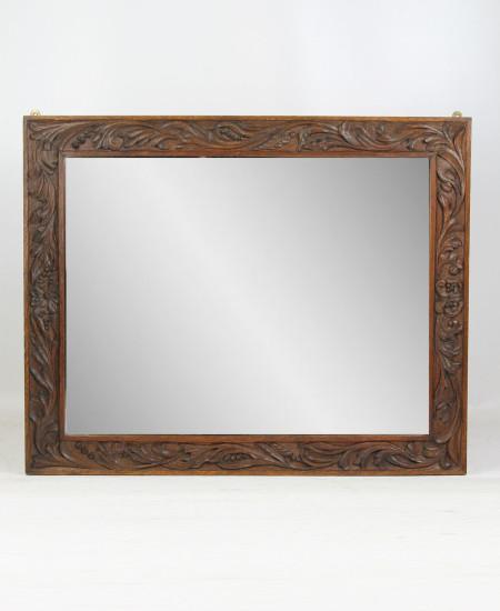 Arts Crafts Carved Oak Mirror