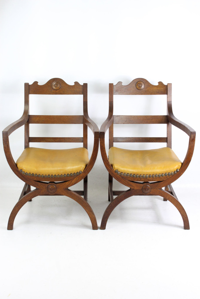 Pair Arts Crafts X-Frame Oak Armchairs