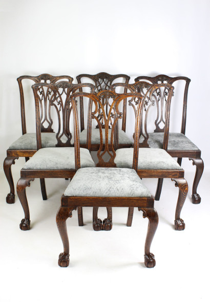 Set 6 Edwardian Oak Chippendale Dining Chairs