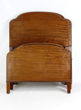 Pair Art Deco Mahogany Single Beds