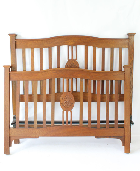 IMG_0019 Antique Arts & Crafts Oak Double Bed £495