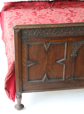 Edwardian Gothic Oak Double Bed