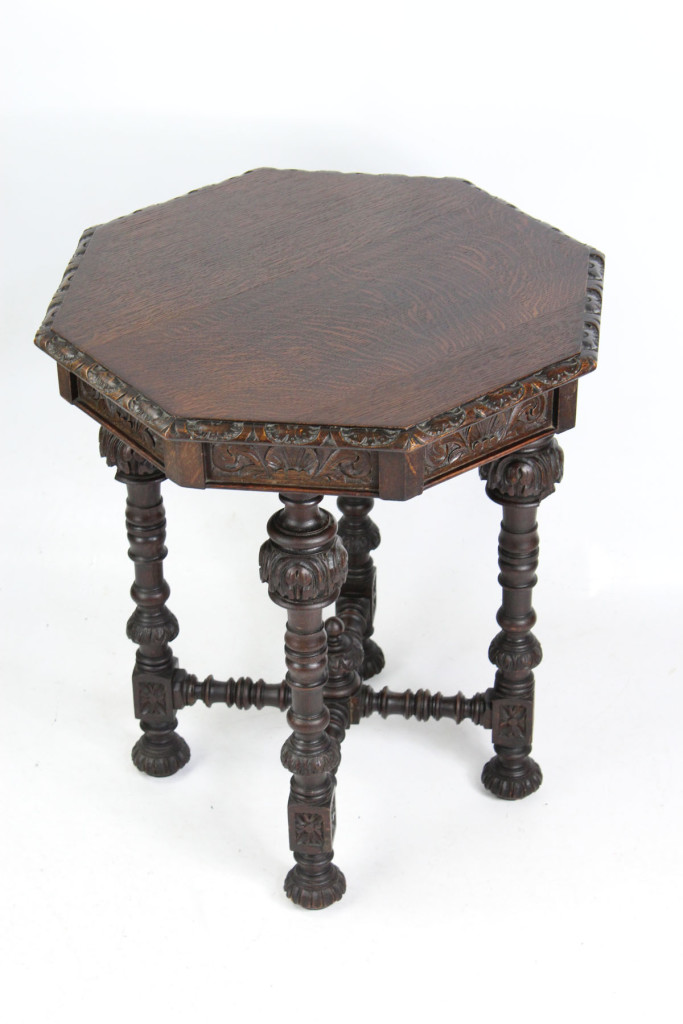Victorian Carved Oak Octagonal Table by Edwards and Roberts