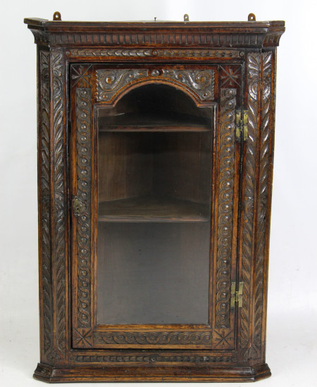 Georgian Oak Corner Cupboard with Glazed Door