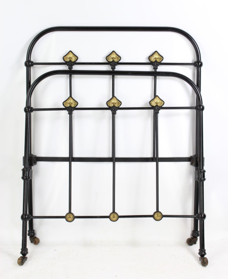 Antique Victorian Iron and Brass Single Bed