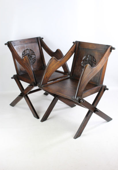 Pair Antique Oak Glastonbury Chairs