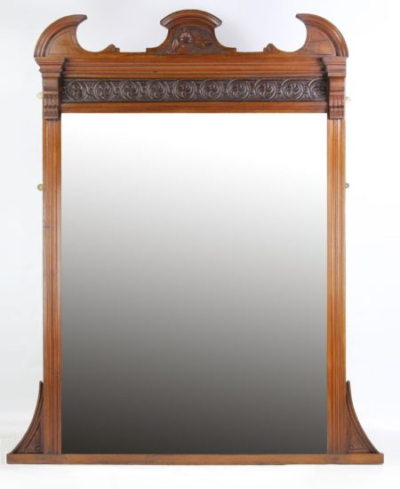 Large Victorian Walnut Overmantle Mirror